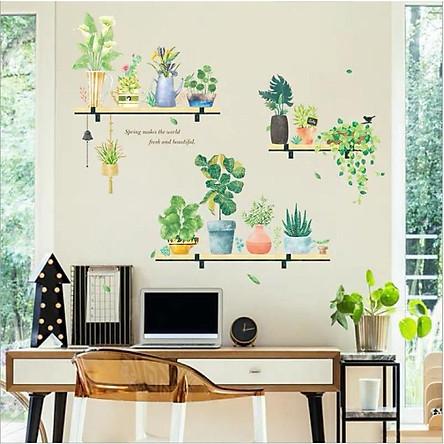 Decal dán tường 3D Kệ cây hoa lá xanh tươi (102 x 109 cm)