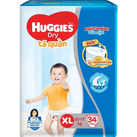 Tã Quần Huggies Dry Pants Jumbo XL34 (12 - 17Kg) - Gói 34 Miếng