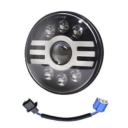 1PCS Car LED Headlight 7in 500W Round Headlamp H-type Super Bright H4 Plug H13 Wire Harness Replacement for Jeep