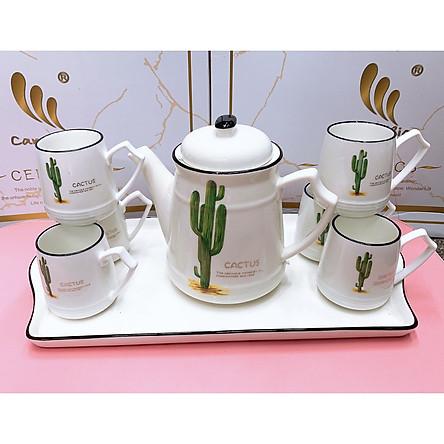 Bộ ấm chén pha trà kèm khay sứ trắng họa tiết xương rồng cao - ANTH155
