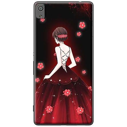 Ốp Lưng Dành Cho Sony X Cô gái váy đỏ hoa hồng
