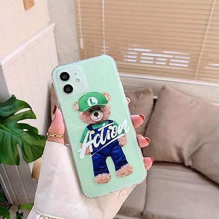 Case Ốp Lưng Teddy Trong Suốt Dành Cho Iphone 11, 11 Pro Max, 12, 12 Pro, 12 Pro Max