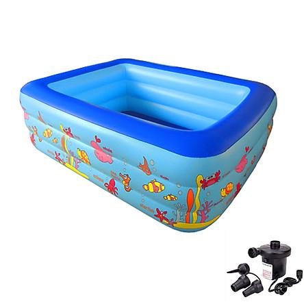 Bể bơi phao cho bé summer baby KT 180*140*60(cm) (kèm 1 lọ keo và 2 miếng dán) (tặng kèm máy bơm điện)