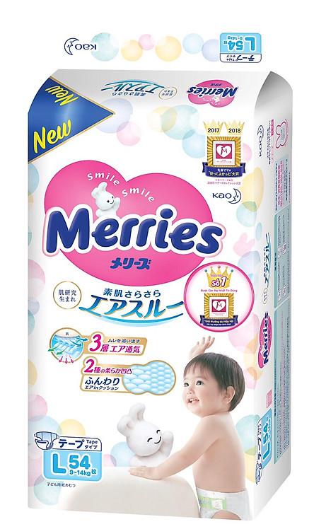Bỉm dán Merries siêu mịn, siêu thoáng cho bé size L54  (9-14kg) 54 miếng - Nội địa Nhật Bản