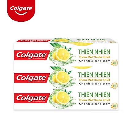 Bộ 3 Kem đánh răng Colgate thiên nhiên thơm mát thuần khiết từ Chanh & Nha Đam 180g