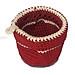 Giỏ nhựa đựng đồ đan tròn có móc xách treo tường đỏ trắng
