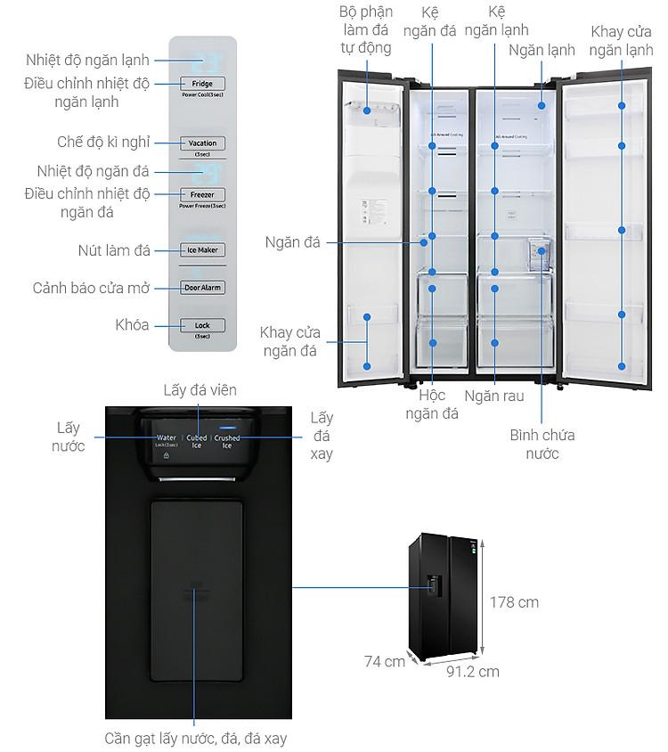Thông số kỹ thuật Tủ lạnh Samsung Inverter 617 lít RS64R53012C/SV