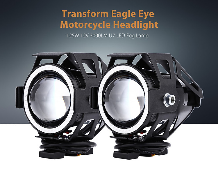 125W 12V 3000LM U7 LED Transform Eagle Eye Spotlight Motorcycle Headlight Fog Lamp