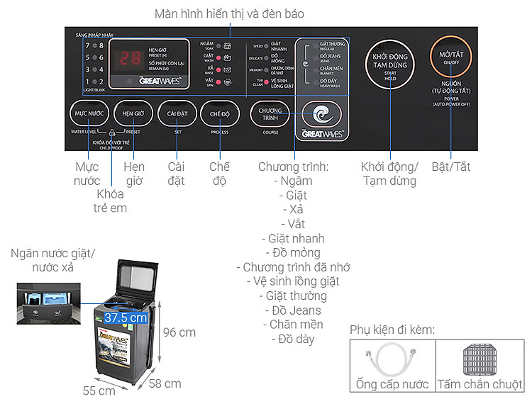 Thông số kỹ thuật Máy giặt Toshiba Inverter 9.0 kg AW-DK1000FV(KK)