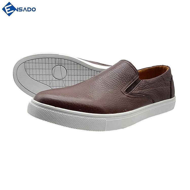 Giày Slip On Nam Giày Sneaker Nam Da Bò Nguyên Tấm Năng Động Trẻ Trung Ensado SL1316 (Nâu)