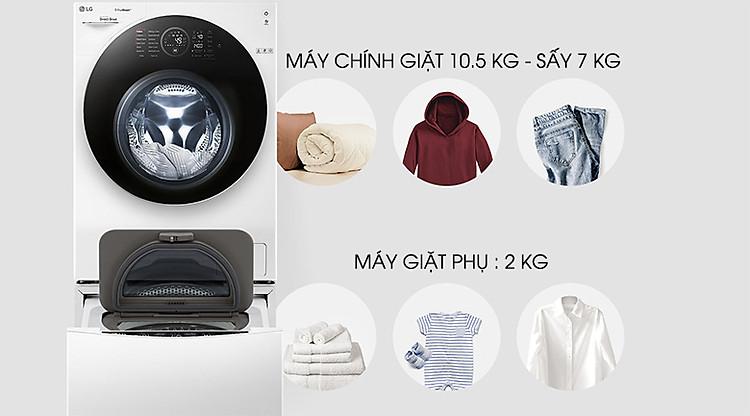 Khối lượng giặt sấy - Máy giặt sấy LG TWINWash Inverter 10.5 kg FG1405H3W1 & TG2402NTWW