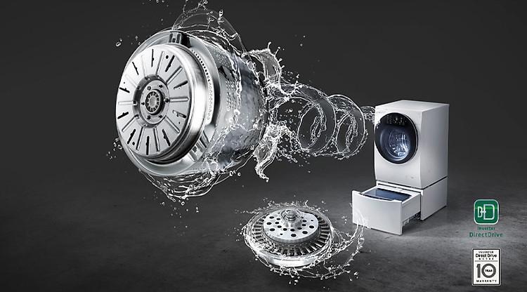 Động cơ truyền động trực tiếp tiết kiệm điện, vận hành êm ái - Máy giặt sấy LG TWINWash Inverter 10.5 kg FG1405H3W1 & TG2402NTWW