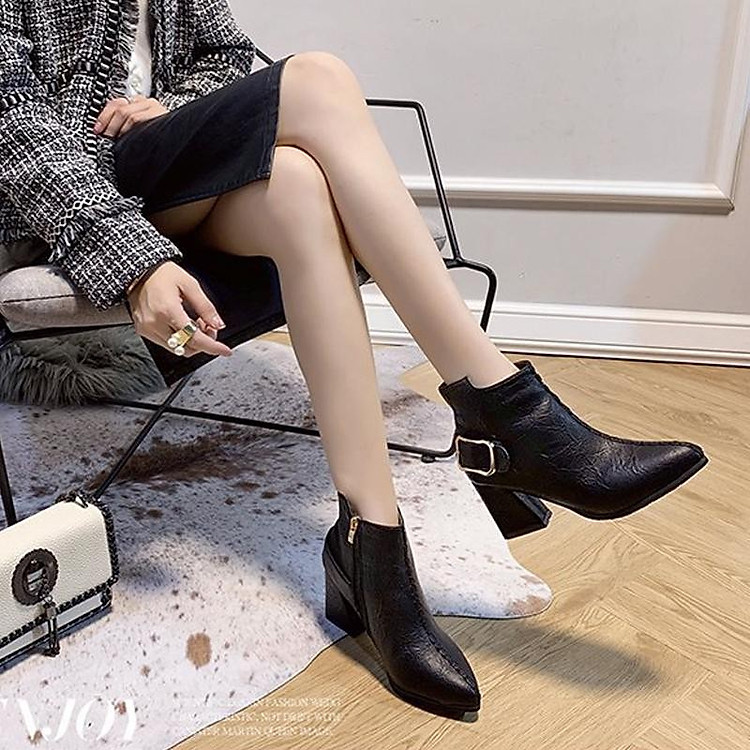 Giày boot nữ cổ trung da pu mềm,gót vuông đi nhiều êm chân,dễ phối thời trang-851 4