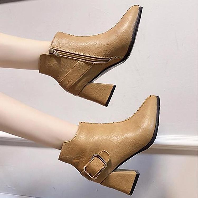 Giày boot nữ cổ trung da pu mềm,gót vuông đi nhiều êm chân,dễ phối thời trang-851 6