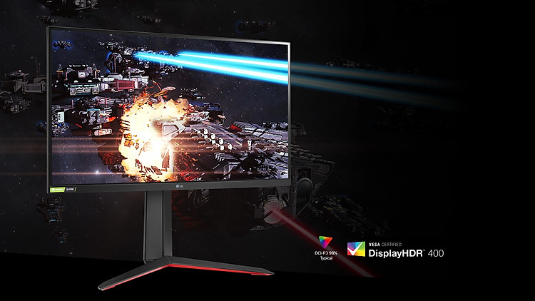 The Gaming Scene in Rich Colors and Contrast on The Monitor Supporting HDR400 With DCI-P3 98% (Typ.).