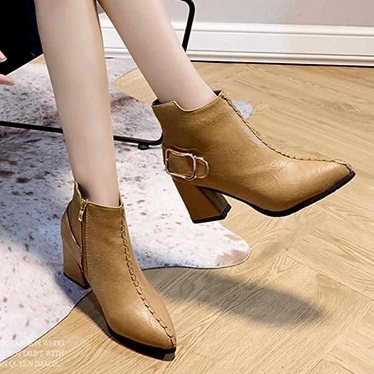 Giày boot nữ cổ trung da pu mềm,gót vuông đi nhiều êm chân,dễ phối thời trang-851 8