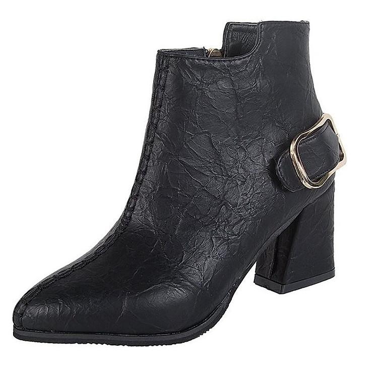 Giày boot nữ cổ trung da pu mềm,gót vuông đi nhiều êm chân,dễ phối thời trang-851 9