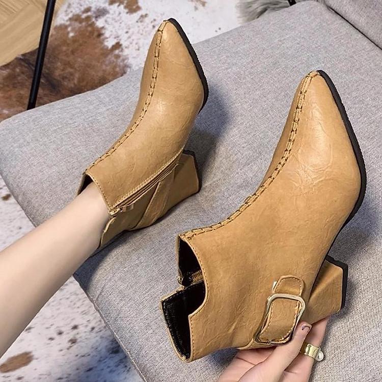 Giày boot nữ cổ trung da pu mềm,gót vuông đi nhiều êm chân,dễ phối thời trang-851 11