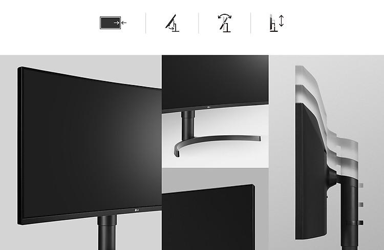 Thiết kế Tiện lợi: Thiết kế cạnh không đường viền, Chân đế lắp vào khớp nhanh, Trục nghiêng và Độ cao