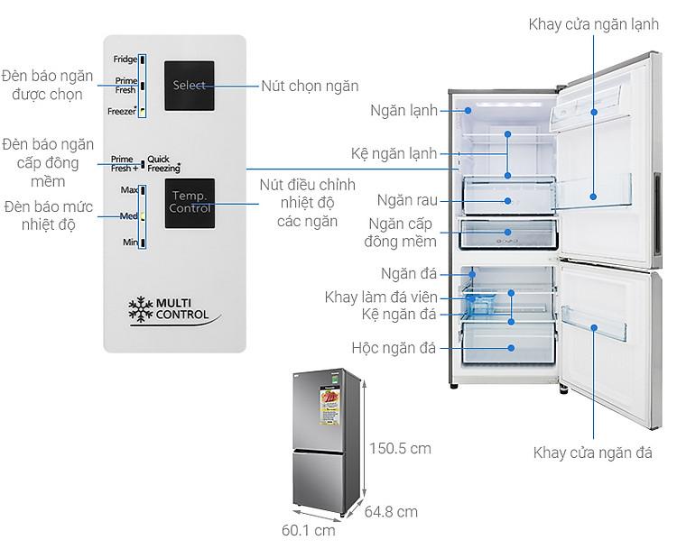 Thông số kỹ thuật Tủ lạnh Panasonic Inverter 255 lít NR-BV280QSVN