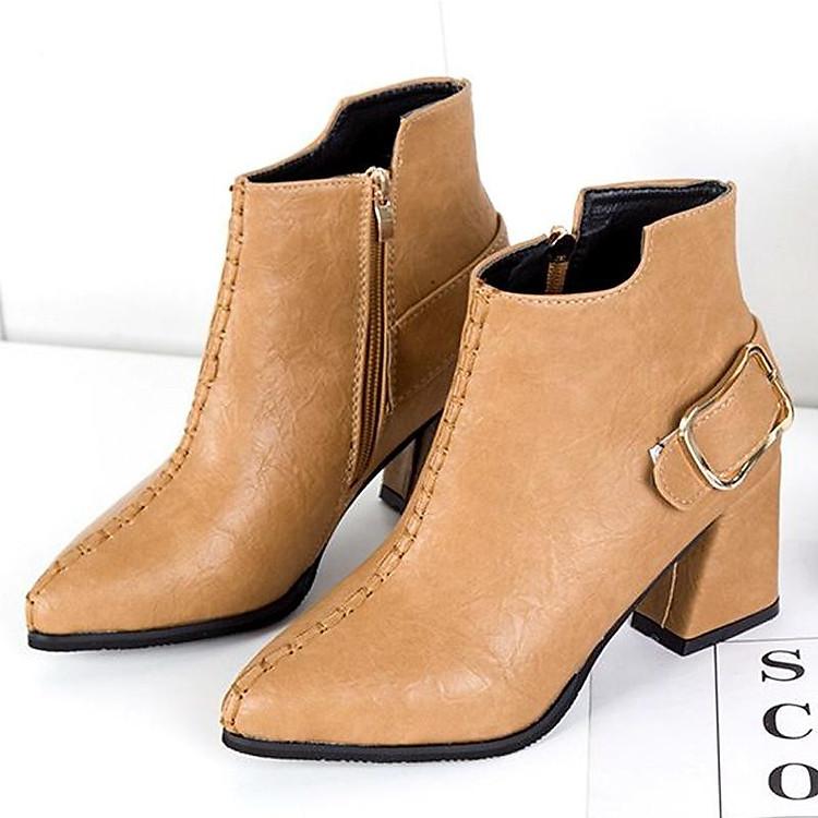 Giày boot nữ cổ trung da pu mềm,gót vuông đi nhiều êm chân,dễ phối thời trang-851 7