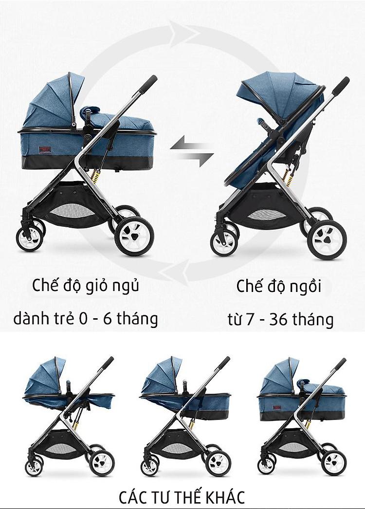 Siêu xe đẩy trẻ em 2 chiều 3 tư thế gấp gọn với nhiều quà tặng hấp dẫn