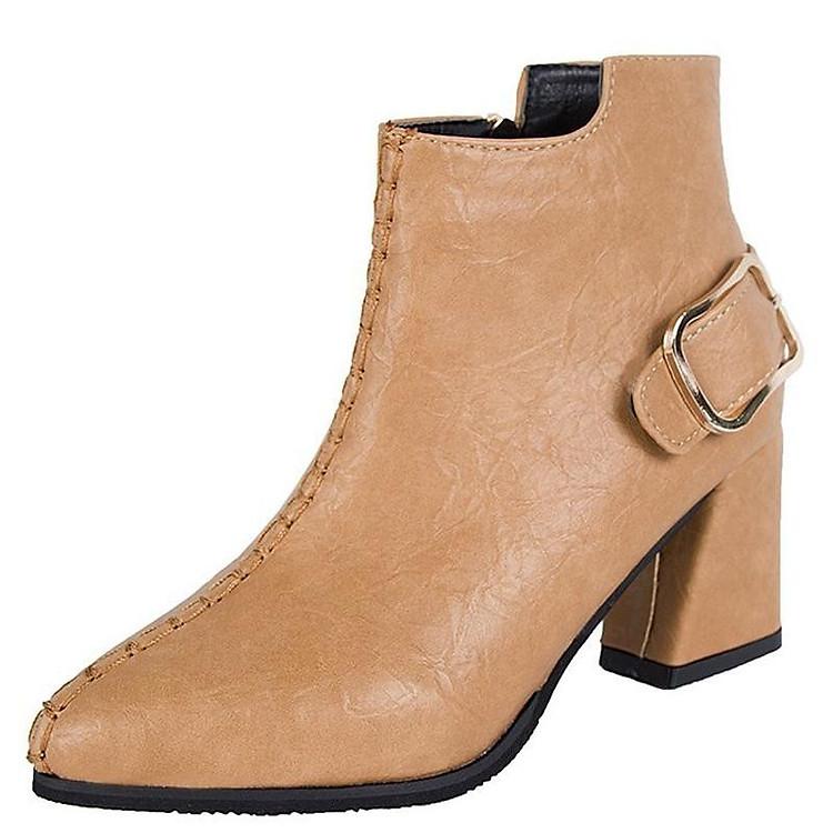 Giày boot nữ cổ trung da pu mềm,gót vuông đi nhiều êm chân,dễ phối thời trang-851 10