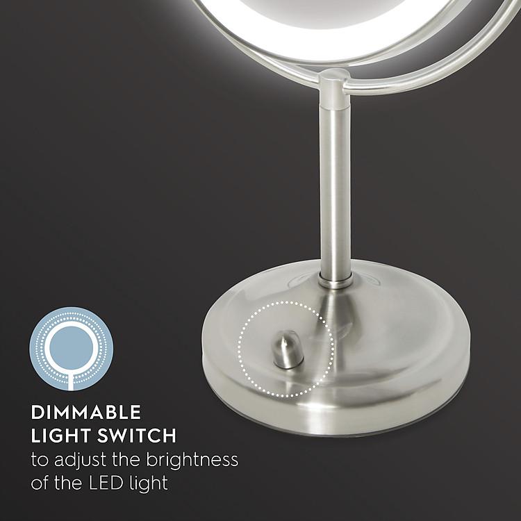 Gương trang điểm 2 mặt USA kèm đèn led điều chỉnh độ sáng HoMedics MIR-8150-EU ,đường kính lớn ,chất liệu Niken cao cấp nhập khẩu USA 3