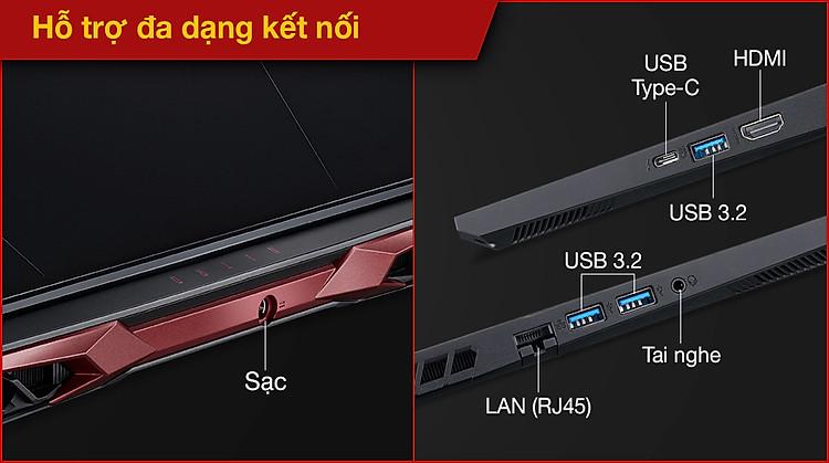 Acer Nitro 5 Gaming AN515 57 50FT i5 11400H (NH.QD8SV.003) - Cổng kết nối