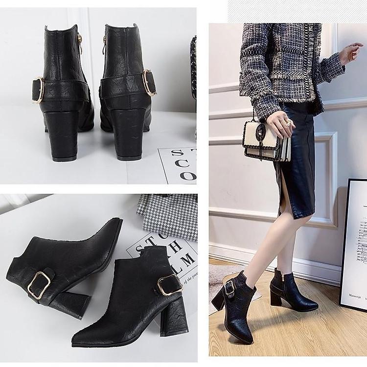 Giày boot nữ cổ trung da pu mềm,gót vuông đi nhiều êm chân,dễ phối thời trang-851 3