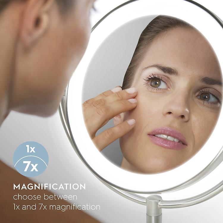 Gương trang điểm 2 mặt USA kèm đèn led điều chỉnh độ sáng HoMedics MIR-8150-EU ,đường kính lớn ,chất liệu Niken cao cấp nhập khẩu USA 2