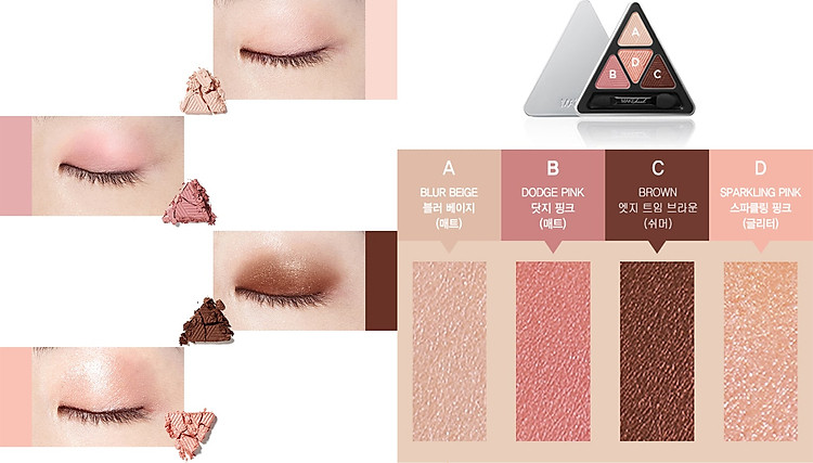 Bảng Phấn Mắt 4 Màu MAKEheal Hidden Triangle Palette 4g 6