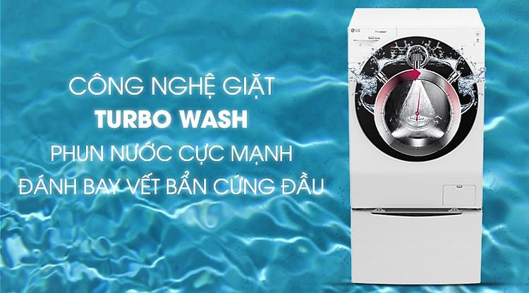 Công nghệ Turbo Wash - Máy giặt sấy LG TWINWash Inverter 10.5 kg FG1405H3W1 & TG2402NTWW