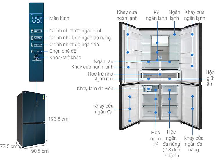 Thông số kỹ thuật Tủ lạnh Toshiba Inverter 622 lít GR-RF690WE-PGV(24)