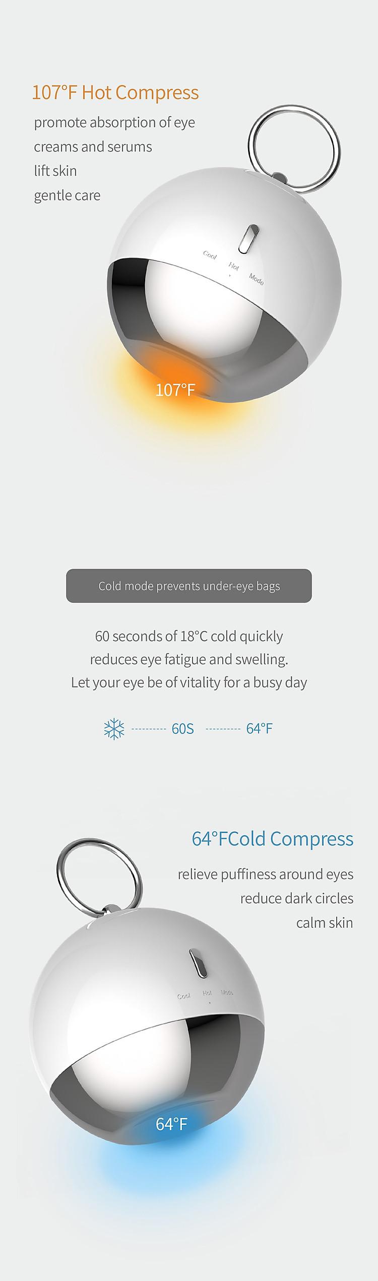 Máy massage da mặt, vùng da quanh mắt với 3 chế độ nóng / lạnh / tuần hoàn ANILLO EYE