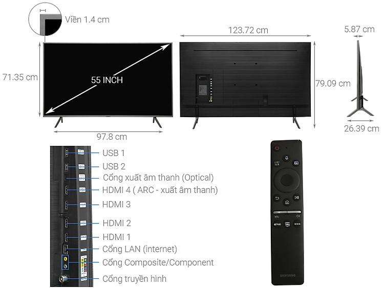 Thông số kỹ thuật Smart Tivi QLED Samsung 4K 55 inch QA55Q65R