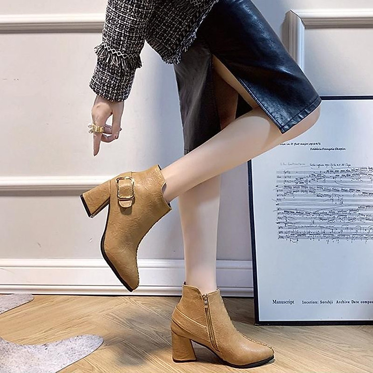 Giày boot nữ cổ trung da pu mềm,gót vuông đi nhiều êm chân,dễ phối thời trang-851 5