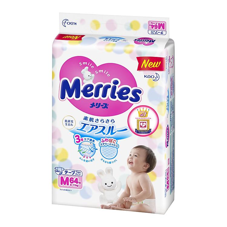 Bỉm Merries size M nội địa 64 miếng