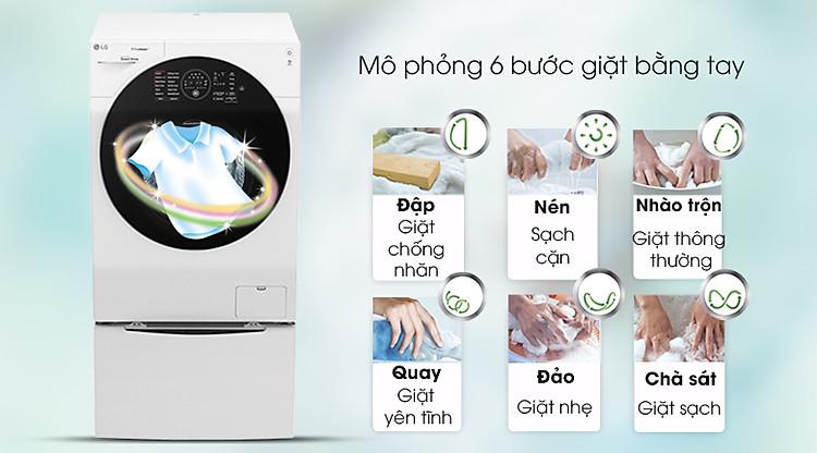 Công nghệ giặt 6 chuyển động - Máy giặt sấy LG TWINWash Inverter 10.5 kg FG1405H3W1 & TG2402NTWW