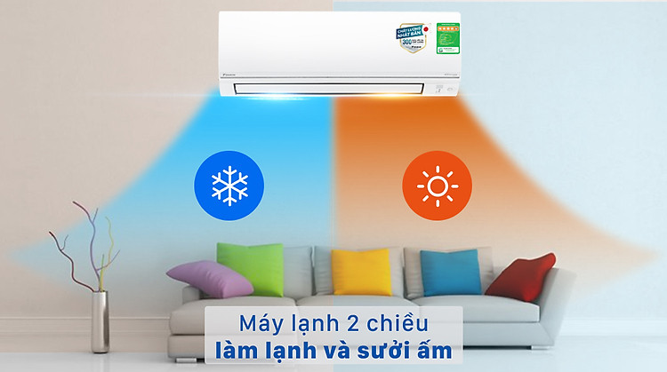 Máy lạnh 2 chiều Daikin Inverter 1.5 HP FTHF35VAVMV - Làm lạnh hoặc sưởi ấm nhờ thuộc kiểu máy lạnh 2 chiều