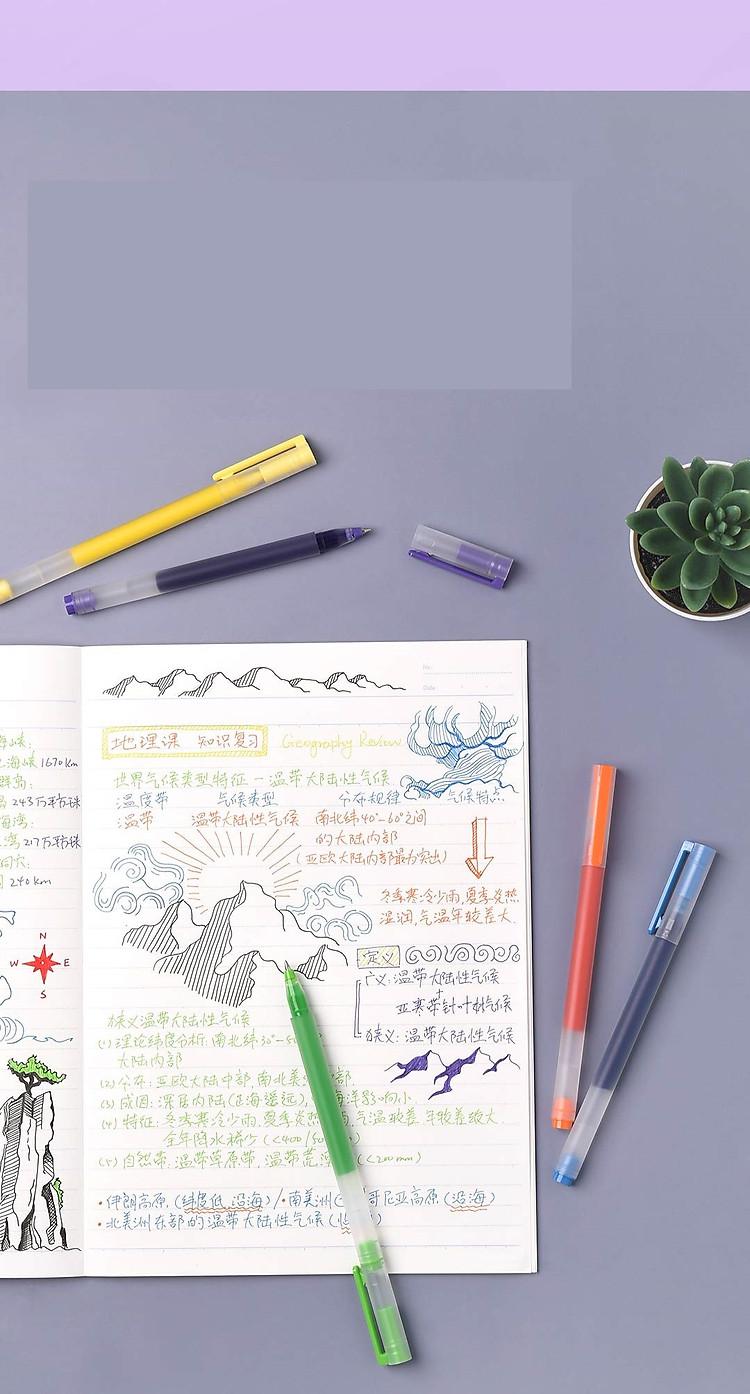 Bút viết Xiaomi 0,5mm gel bút đồ dùng học tập văn phòng phẩm 5 cái bút viết màu 4