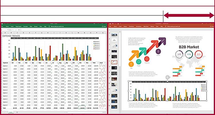 Hình ảnh hiển thị các bảng dữ liệu và trình chiếu cạnh nhau trên màn hình 21:9 UltraWide, trong khi màn hình 16:9 không cho phép thực hiện điều này vì không đủ diện tích.