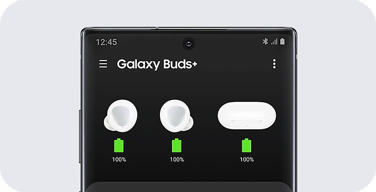 A Galaxy phone with a GUI of the battery life of the earbuds and charging case displayed coveniently on the screen.