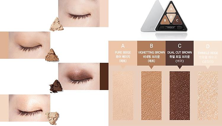 Bảng Phấn Mắt 4 Màu MAKEheal Hidden Triangle Palette 4g 7