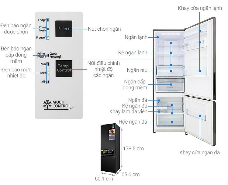 Thông số kỹ thuật Tủ lạnh Panasonic Inverter 322 lít NR-BC360QKVN