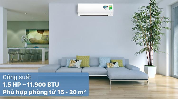 Máy lạnh 2 chiều Daikin Inverter 1.5 HP FTHF35VAVMV - Công suất 1.5 HP, phù hợp diện tích từ 15 - 20m2