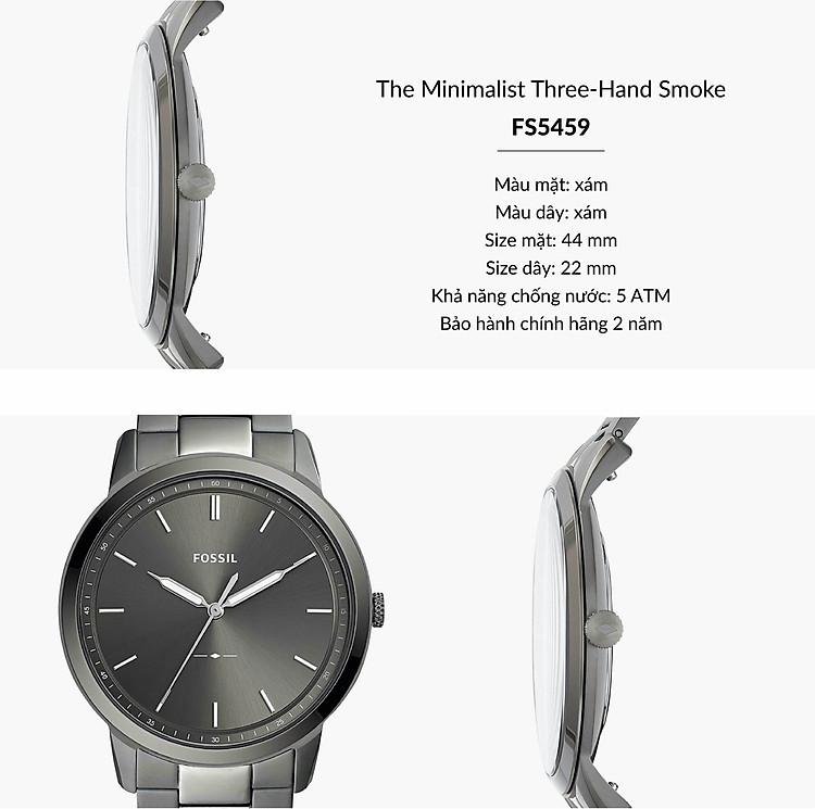 Đồng hồ nam Fossil THE MINIMALIST 3H dây kim loại FS5459 - màu khói   Đồng  hồ business   FPT.Watch