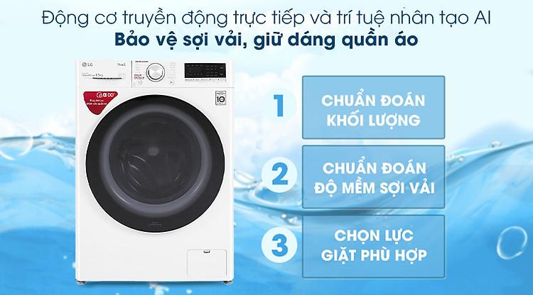 Máy giặt LG Inverter 8.5 kg FV1408S4W - Công nghệ DD và AI