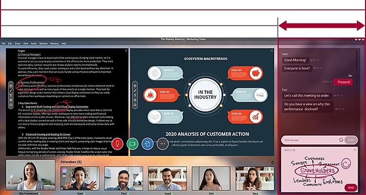 Màn hình 21:9 UltraWide có diện tích màn ảnh rộng hơn so với màn hình 16:9 đang hiển thị một cuộc họp trực tuyến đang diễn ra.