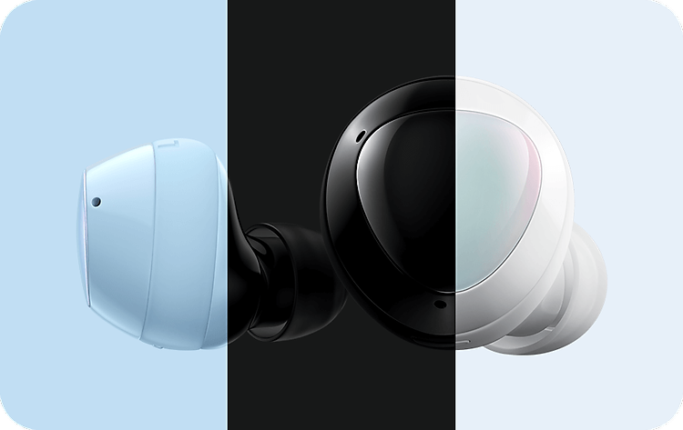 Enlarged pair of Galaxy Buds plus earbuds with a profile view of a blue earbud next to an outer surface view of a white earbud. The left third is overlayed in blue, the middle is overlayed in black and the right third is clear. Four line drawings on the bottom indicating tap commands. Tap to play or pause. Double tap to play next song or recieve and end calls. Triple tap to play previous song. Touch and hold to perform user-set function.
